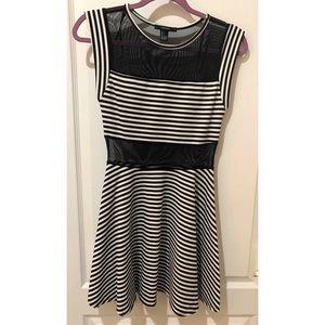 Black/white striped skater dress